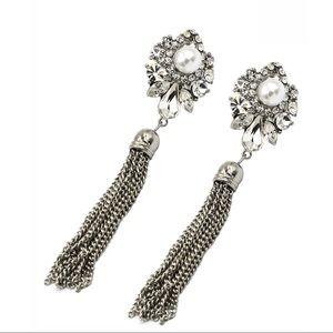 Elegant pendant tassel crystal pearl earrings